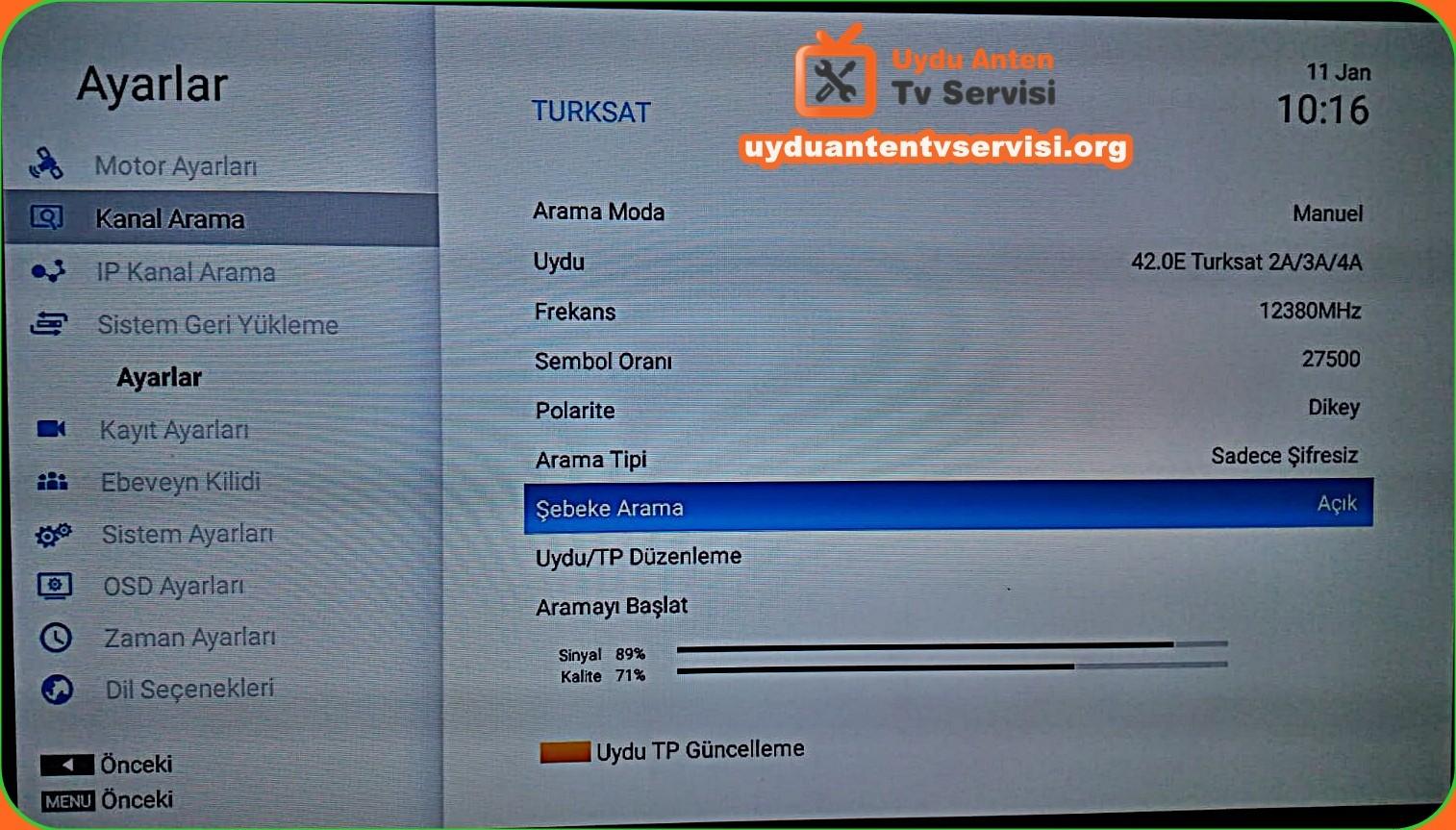 Türksat2A3A Otomatik Güncelleme Frekansları UYDU, FREKANS / POLARIZASYON .SR / FEC Türksat 4A (12380 V 27500 3/4) Türksat 4A (12423 H 30000 3/4)